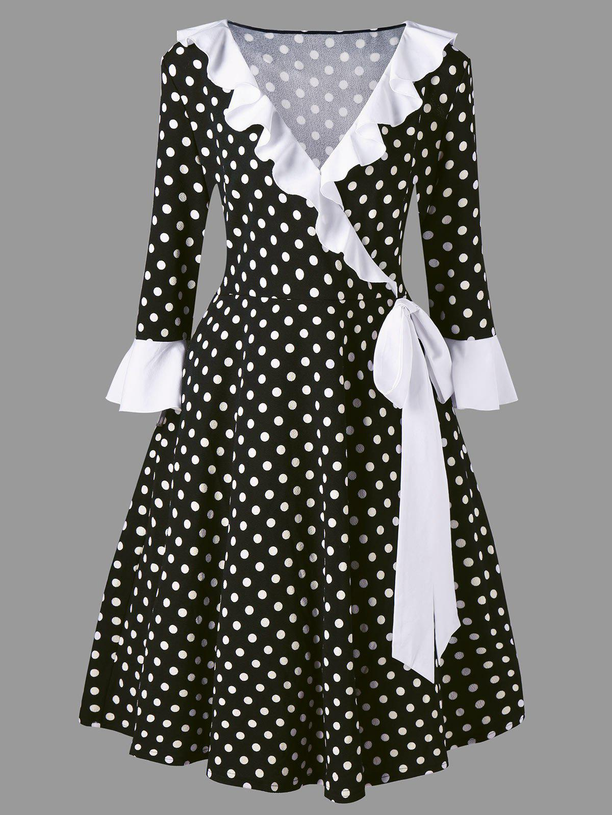 Plus Size Vintage Flounce Bowknot Polka Dot DressWOMEN<br><br>Size: XL; Color: WHITE AND BLACK; Style: Vintage; Material: Polyester,Spandex; Silhouette: A-Line; Dresses Length: Mid-Calf; Neckline: V-Neck; Sleeve Type: Flare Sleeve; Sleeve Length: 3/4 Length Sleeves; Embellishment: Bowknot,Flounce; Pattern Type: Polka Dot; With Belt: No; Season: Fall,Spring; Weight: 0.4600kg; Package Contents: 1 x Dress;