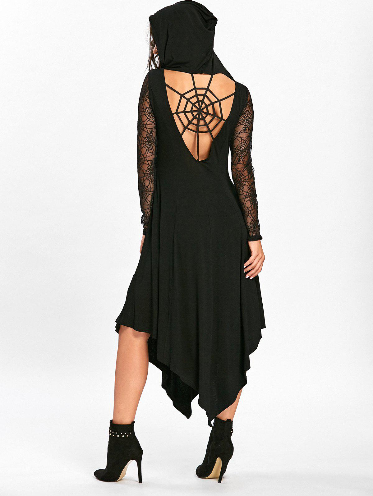 Halloween Spider Web Handkerchief Flowy DressWOMEN<br><br>Size: 2XL; Color: BLACK; Style: Brief; Material: Cotton,Spandex; Silhouette: Asymmetrical; Dresses Length: Mid-Calf; Neckline: Hooded; Sleeve Length: Long Sleeves; Pattern Type: Patchwork,Solid; With Belt: No; Season: Fall,Spring; Weight: 0.4700kg; Package Contents: 1 x Dress;
