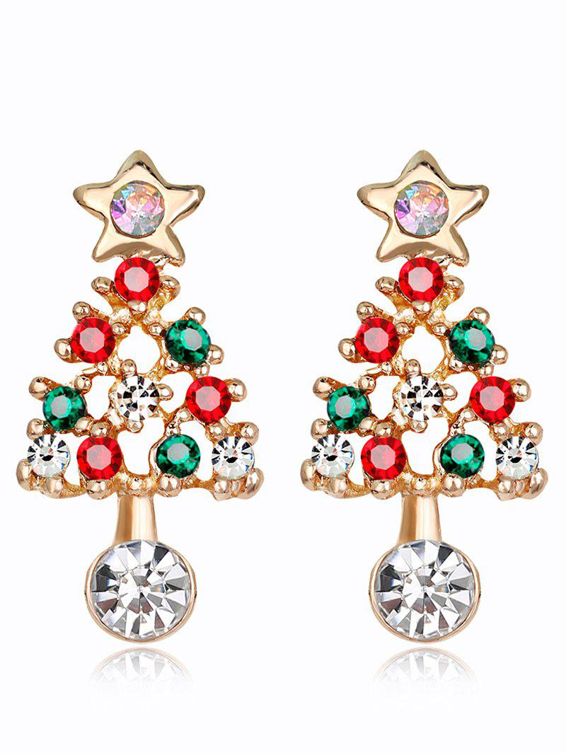 Cheap Acrylic Rhinestone Hollow Out Christmas Tree Shape Earrings