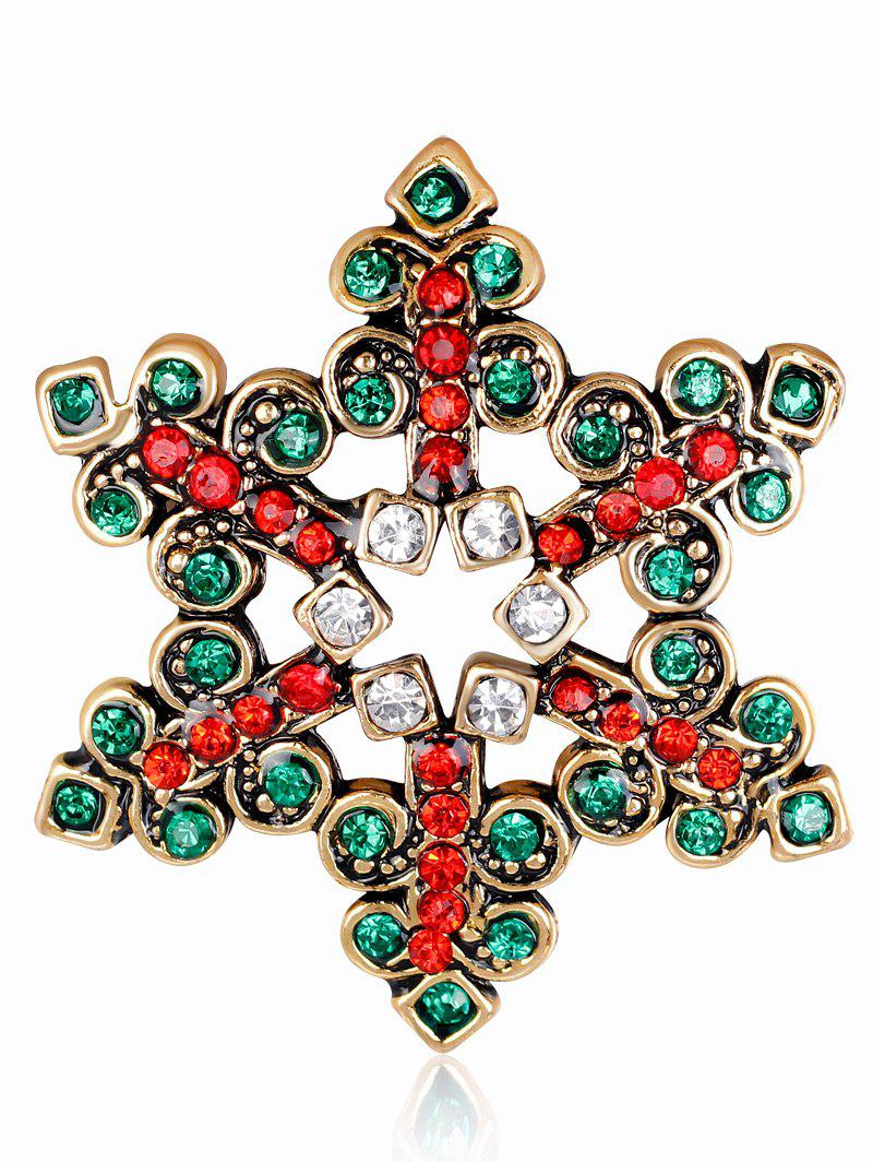 Rhinestone Hollow Out Snowflake BroochJEWELRY<br><br>Color: GREEN; Brooch Type: Brooch; Gender: For Unisex; Material: Rhinestone; Metal Type: Alloy; Style: Trendy; Shape/Pattern: Others; Weight: 0.0300kg; Package Contents: 1 x Brooch;