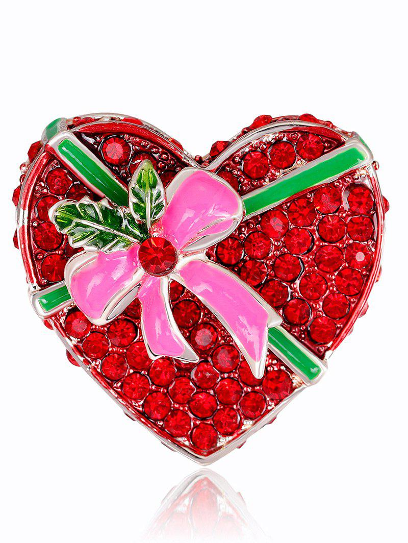 Affordable Faux Ruby Heart Shape Gift Box Brooch