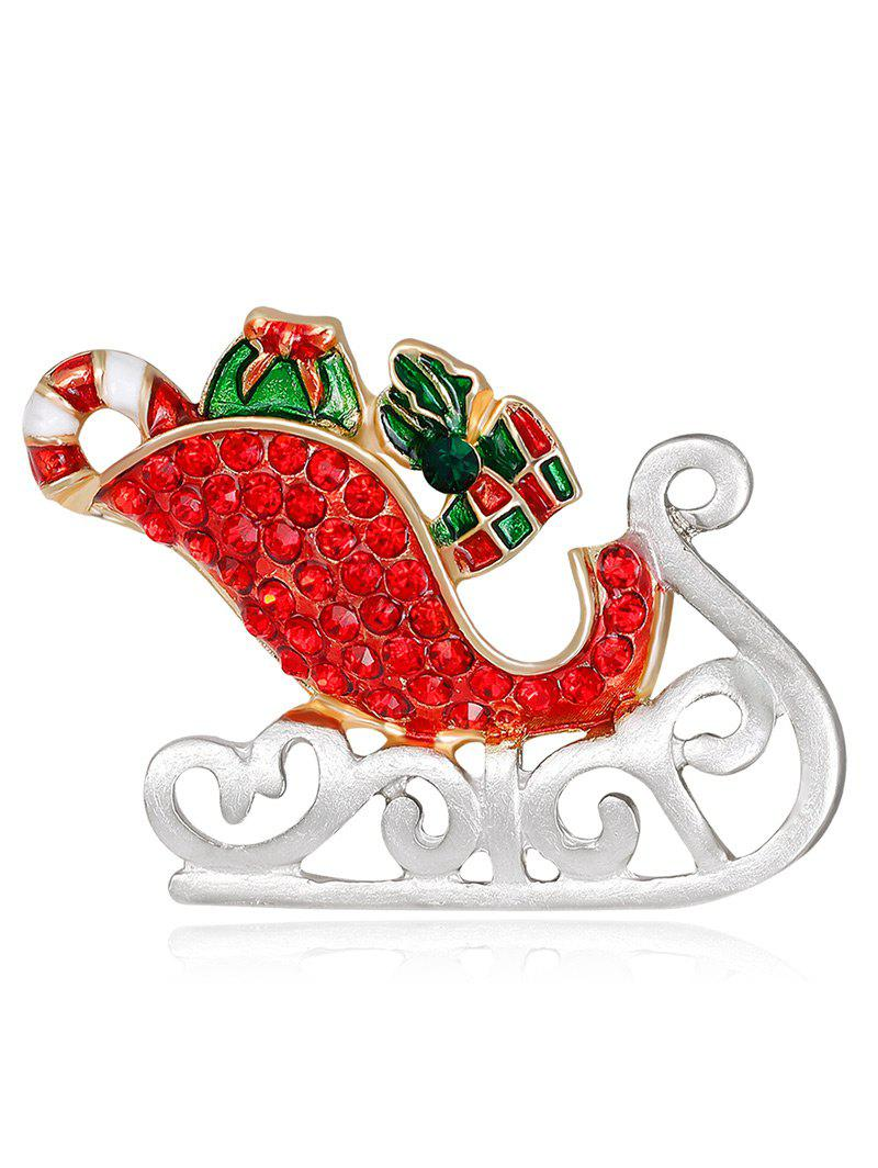 Acrylic Rhinestones Christmas Ice Skates Shape BroochJEWELRY<br><br>Color: RED; Brooch Type: Brooch; Gender: For Women; Material: Acrylic; Metal Type: Alloy; Style: Trendy; Shape/Pattern: Others; Weight: 0.0300kg; Package Contents: 1 x Brooch;