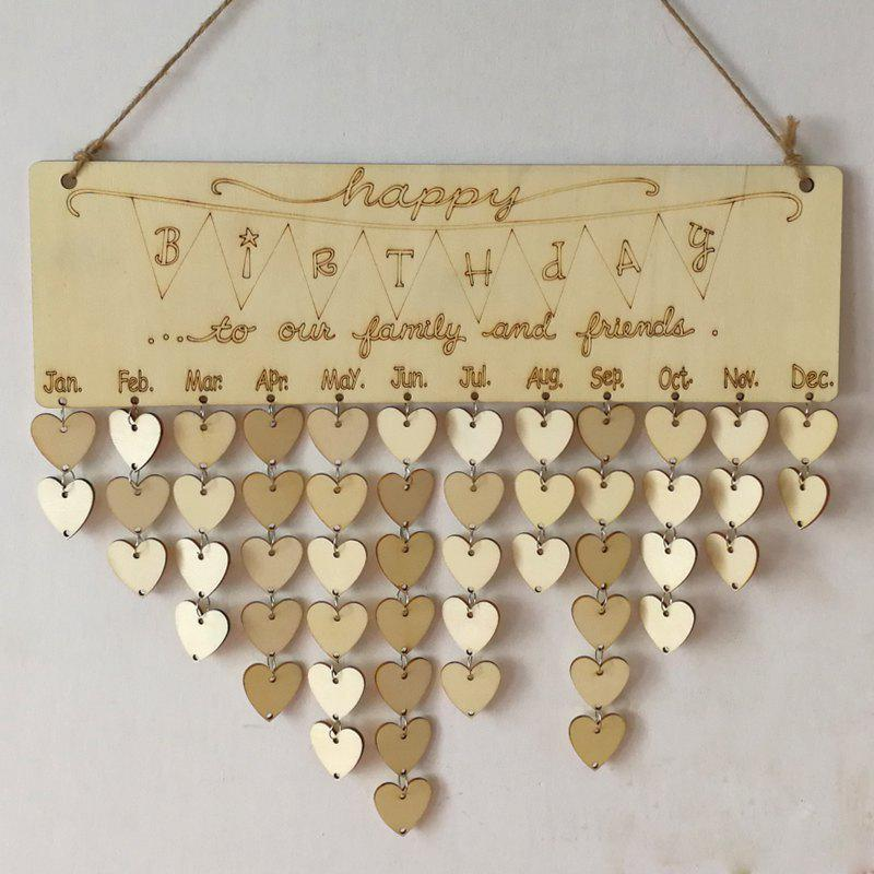 Fancy DIY Wooden Heart Family And Friends Birthdays Calendar Board