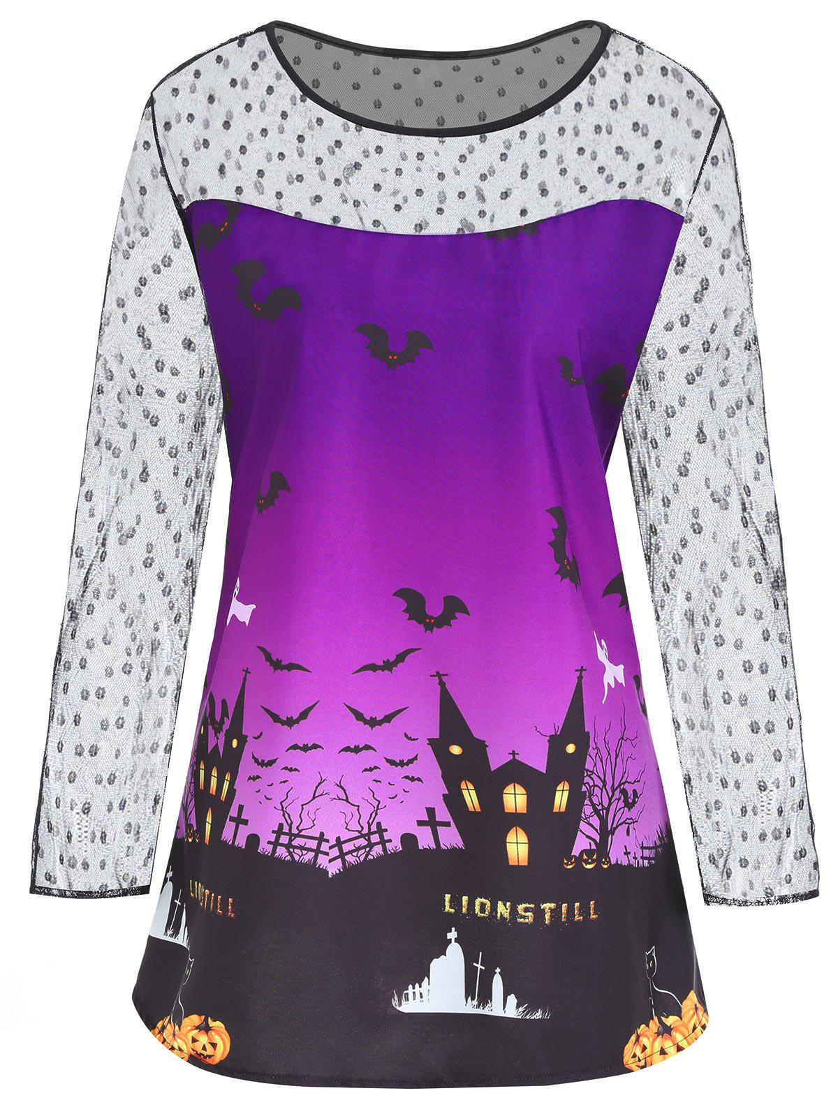 Plus Size Halloween Castle Bat Print Lace Panel T-shirtWOMEN<br><br>Size: 2XL; Color: PURPLE; Material: Cotton,Polyester; Shirt Length: Regular; Sleeve Length: Full; Collar: Round Neck; Style: Fashion; Season: Fall; Embellishment: Lace; Pattern Type: Print; Weight: 0.1800kg; Package Contents: 1 x T-shirt;