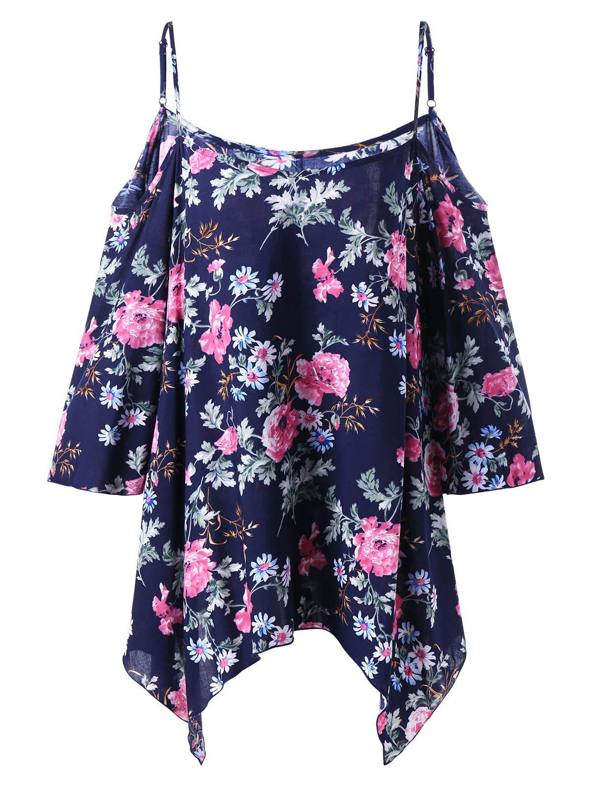Plus Size Dew Shoulder Floral Handkerchief BlouseWOMEN<br><br>Size: 5XL; Color: DEEP BLUE; Material: Rayon; Shirt Length: Regular; Sleeve Length: Three Quarter; Collar: Spaghetti Strap; Style: Casual; Season: Fall,Spring,Summer; Pattern Type: Floral; Weight: 0.1700kg; Package Contents: 1 x Blouse;