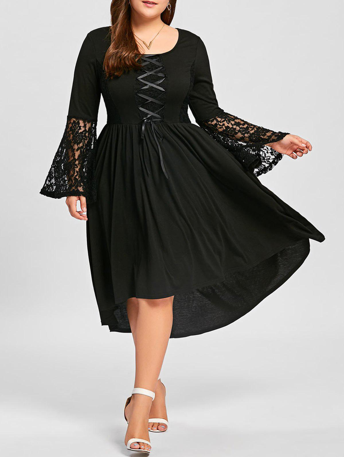 Plus Size High Low Lace Up Lace Panel DressWOMEN<br><br>Size: XL; Color: BLACK; Style: Casual; Material: Cotton,Polyester; Silhouette: Asymmetrical; Dresses Length: Mid-Calf; Neckline: Scoop Neck; Sleeve Type: Flare Sleeve; Sleeve Length: Long Sleeves; Embellishment: Criss-Cross,Lace,Panel; Pattern Type: Others; With Belt: No; Season: Fall,Spring; Weight: 0.5500kg; Package Contents: 1 x Dress;