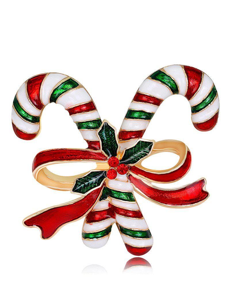 Rhinestone Candy Cane Tiny Christmas BroochJEWELRY<br><br>Color: RED; Brooch Type: Brooch; Gender: For Unisex; Material: Rhinestone; Style: Trendy; Shape/Pattern: Bows; Length: 3.7CM; Weight: 0.0300kg; Package Contents: 1 x Brooch;
