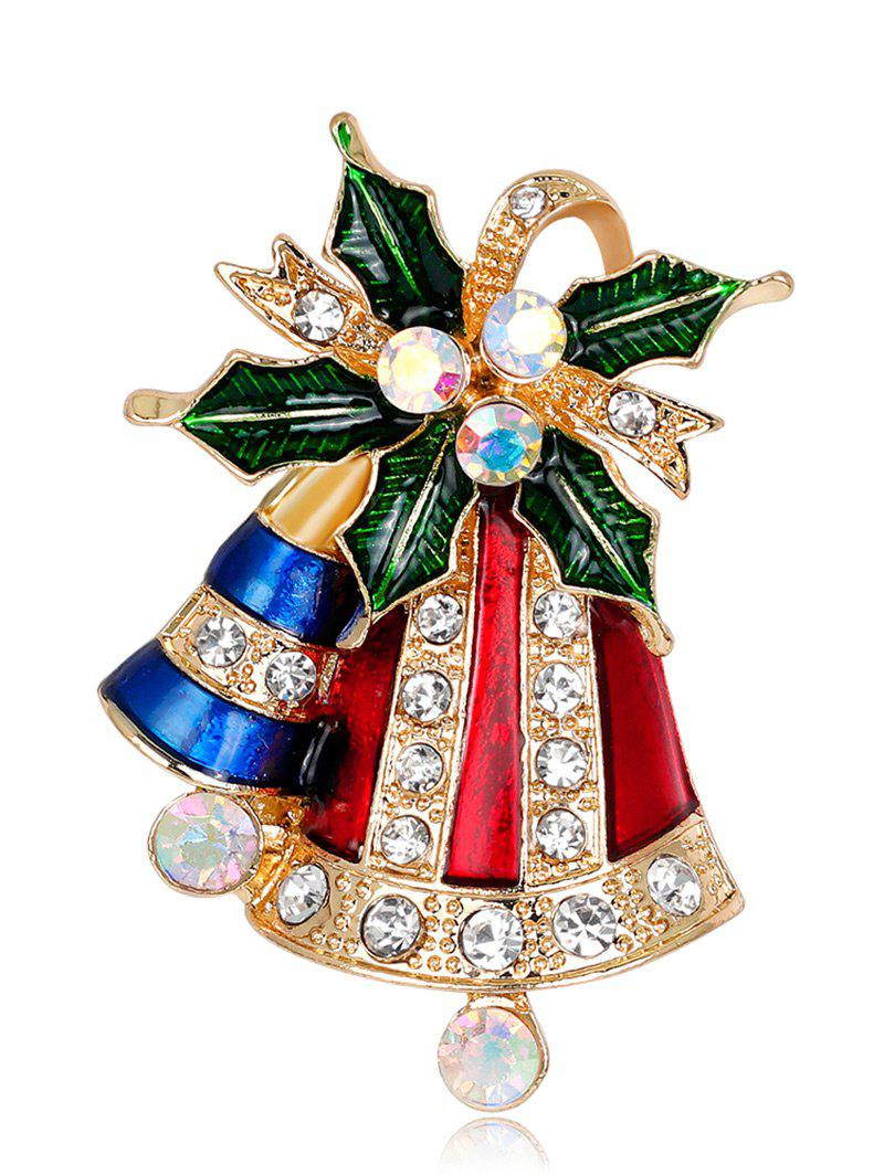 Rhinestone Christmas Tiny Bell BroochJEWELRY<br><br>Color: RED; Brooch Type: Brooch; Gender: For Women; Material: Rhinestone; Style: Trendy; Shape/Pattern: Plant; Length: 4.4CM; Weight: 0.0300kg; Package Contents: 1 x Brooch;