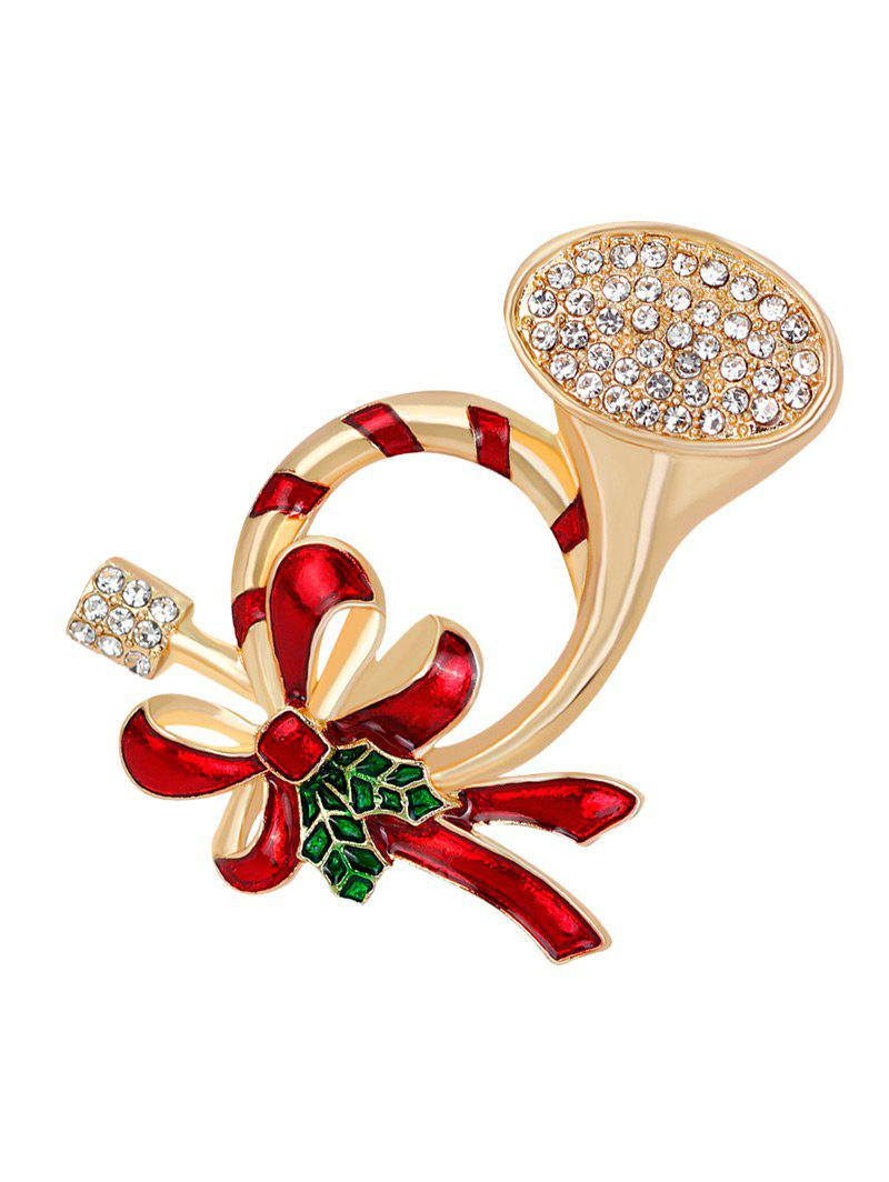 Rhinestone Bows Christmas BroochJEWELRY<br><br>Color: RED; Brooch Type: Brooch; Gender: For Women; Material: Rhinestone; Style: Trendy; Shape/Pattern: Bows; Length: 4.6CM; Weight: 0.0300kg; Package Contents: 1 x Brooch;