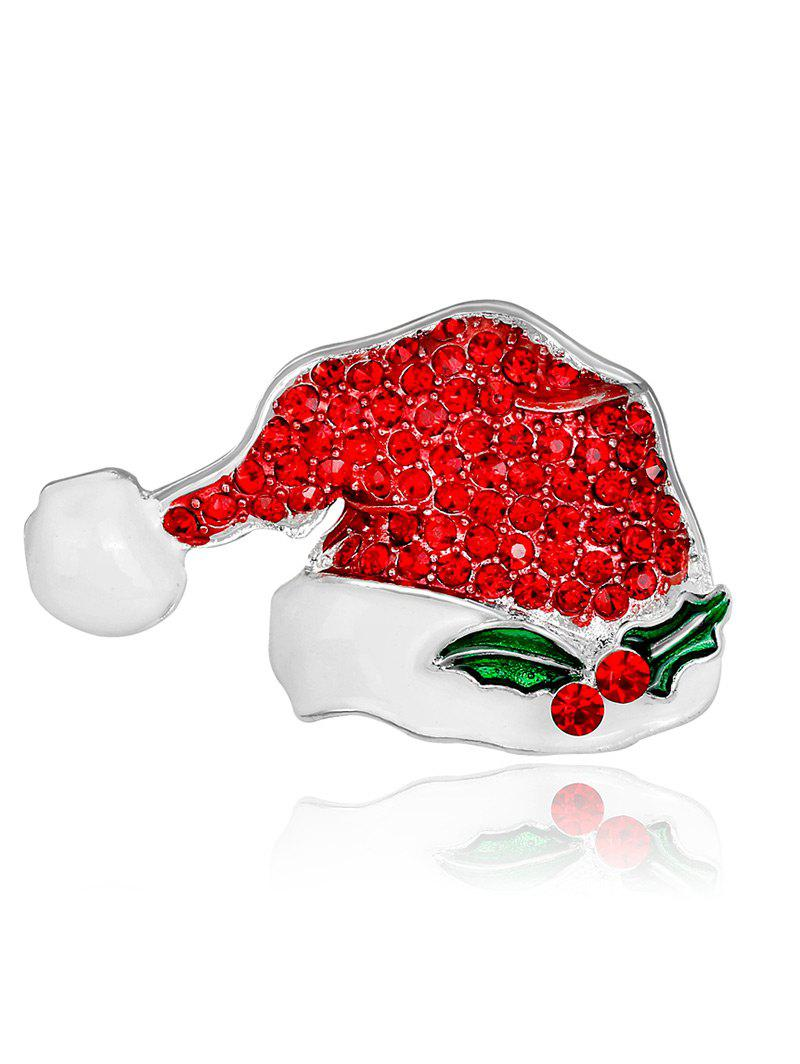 Rhinestoned Tiny Christmas Hat BroochJEWELRY<br><br>Color: RED; Brooch Type: Brooch; Gender: For Unisex; Material: Rhinestone; Style: Trendy; Shape/Pattern: Plant; Length: 4.3CM; Weight: 0.0300kg; Package Contents: 1 x Brooch;