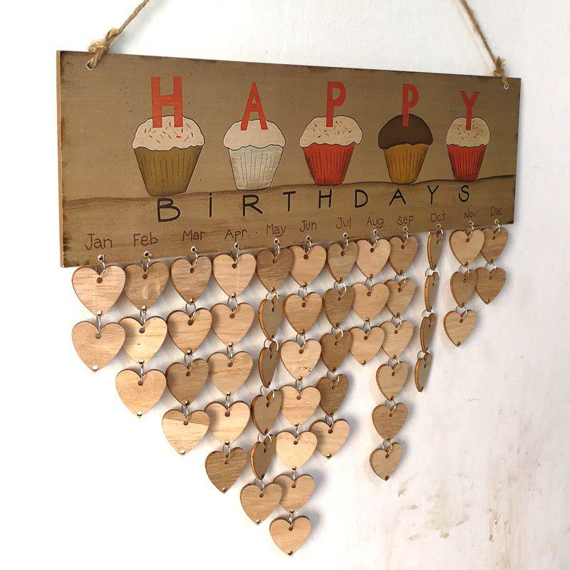 DIY Wooden Family And Friends Happy Birthday Calendar BoardHOME<br><br>Color: HEART; Candle Type: Wood Crafts; Use: Home Decoration; Material: Wood; Weight: 0.2700kg; Package Contents: 1 x Birthday Board (Set);