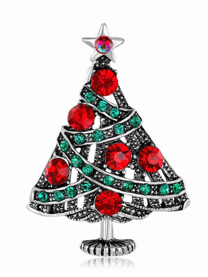 Rhinestone Christmas Tree Star Vintage BroochJEWELRY<br><br>Color: COLORMIX; Brooch Type: Brooch; Gender: For Unisex; Material: Rhinestone; Style: Trendy; Shape/Pattern: Star; Length: 4CM; Weight: 0.0300kg; Package Contents: 1 x Brooch;