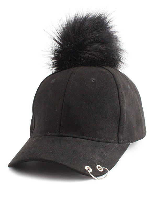 Pom Baseball Hat with Hoop RingACCESSORIES<br><br>Color: BLACK; Hat Type: Baseball Caps; Group: Adult; Gender: Unisex; Style: Punk; Pattern Type: Solid; Material: Polyester; Circumference (CM): 55CM-59CM; Weight: 0.1200kg; Package Contents: 1 x Hat;