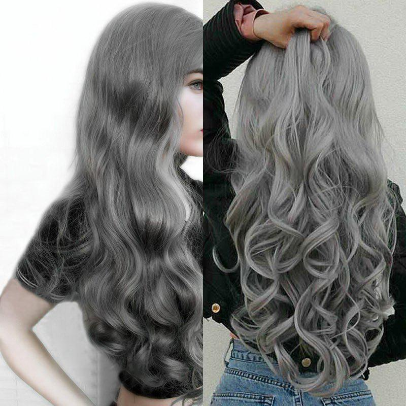 Center Parting Long Fluffy Loose Wave Synthetic WigHAIR<br><br>Color: GRAY; Type: Full Wigs; Cap Construction: Capless (Machine-Made); Style: Wavy; Material: Synthetic Hair; Bang Type: Middle; Length: Long; Length Size(CM): 65; Weight: 0.3000kg; Package Contents: 1 x Wig;