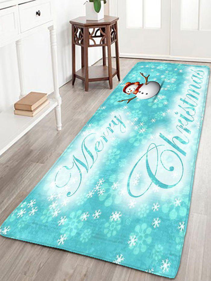 Thin Flannel Christmas Snowflake Snowman RugHOME<br><br>Size: W16 INCH * L47 INCH; Color: CLOUDY; Products Type: Bath rugs; Materials: Flannel; Pattern: Letter,Snowflake,Snowman; Style: Festival; Shape: Rectangular; Package Contents: 1 x Rug;