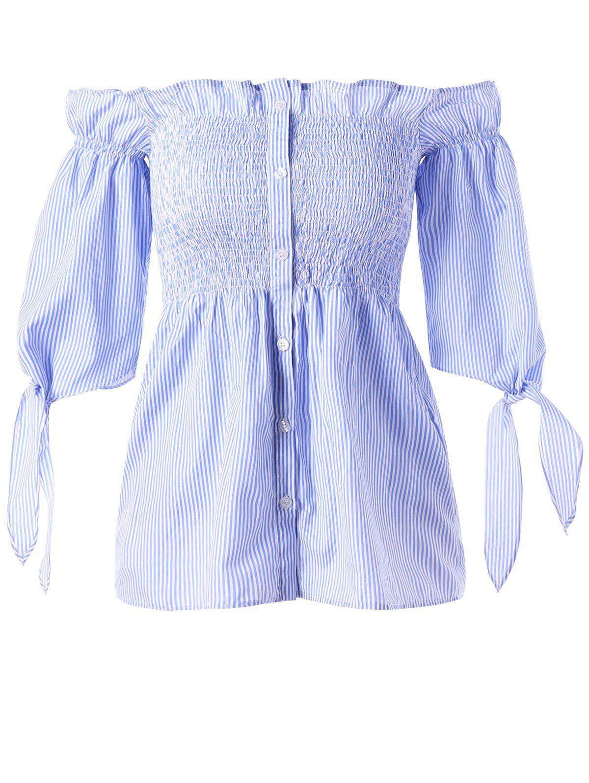 Button Up Off The Shoulder Striped BlouseWOMEN<br><br>Size: XL; Color: BLUE STRIPE; Style: Fashion; Material: Cotton,Spandex; Shirt Length: Regular; Sleeve Length: Half; Collar: Off The Shoulder; Pattern Type: Striped; Embellishment: Bowknot,Ruffles; Season: Fall,Spring,Summer; Elasticity: Elastic; Weight: 0.1600kg; Package Contents: 1 x Blouse;