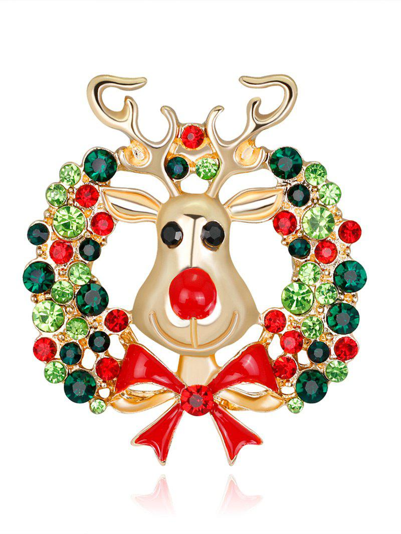 Rhinestone Christmas Wreath Deer BroochJEWELRY<br><br>Color: GREEN; Brooch Type: Brooch; Gender: For Women; Material: Rhinestone; Style: Trendy; Shape/Pattern: Animal; Length: 4.2CM; Weight: 0.0300kg; Package Contents: 1 x Brooch;