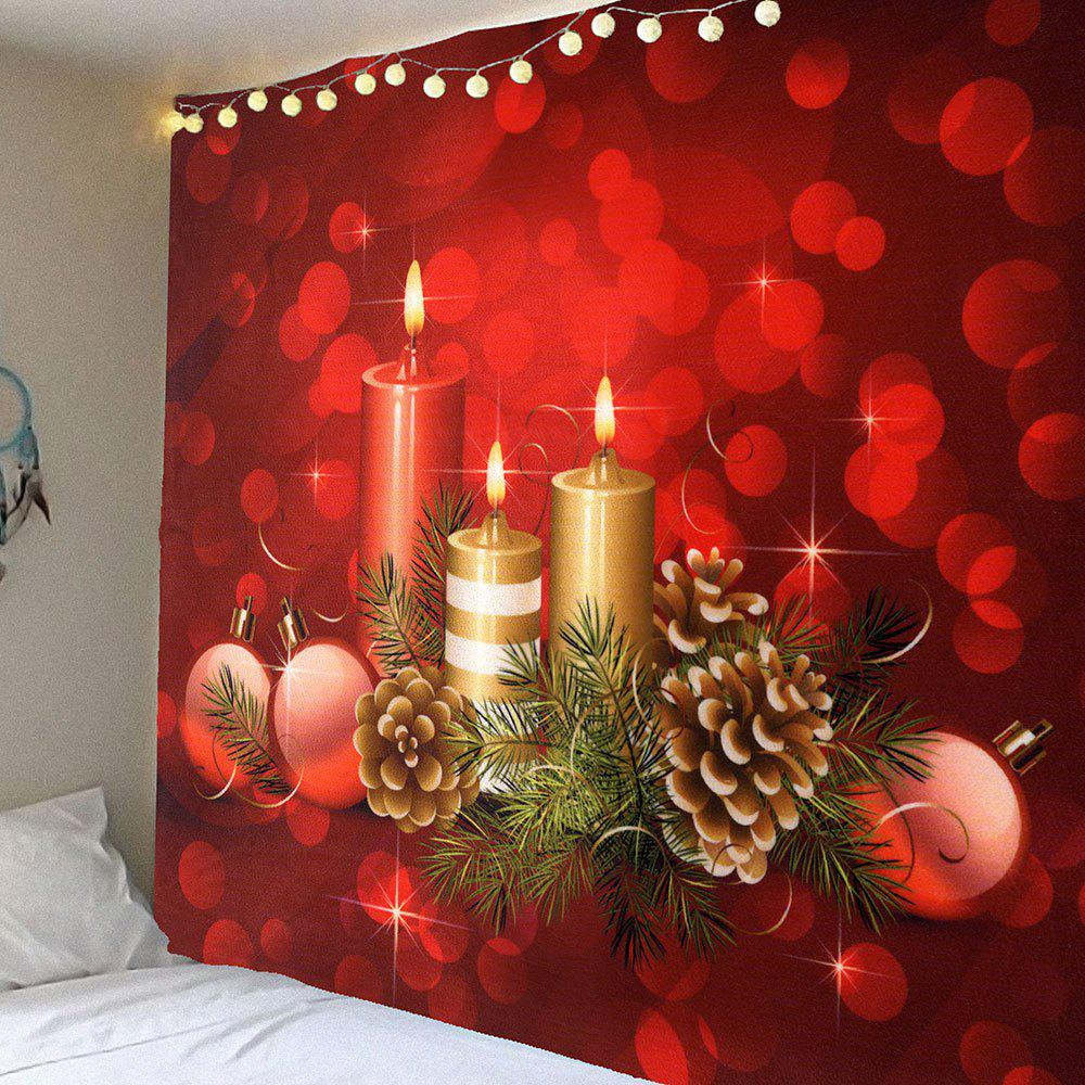 Waterproof Romantic Candle Pattern Wall Hanging TapestryHOME<br><br>Size: W91 INCH * L71 INCH; Color: RED; Style: Romantic; Theme: Christmas; Material: Velvet; Feature: Removable,Washable,Waterproof; Shape/Pattern: Print; Weight: 0.4200kg; Package Contents: 1 x Tapestry;