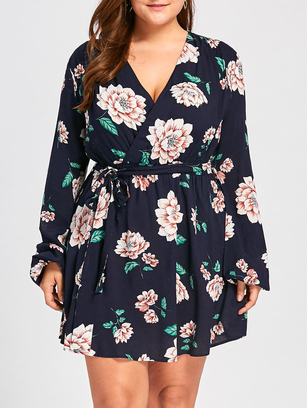 Plus Size Long Sleeve Floral DressWOMEN<br><br>Size: 4XL; Color: BLACK BLUE; Style: Brief; Material: Rayon; Silhouette: A-Line; Dresses Length: Mini; Neckline: V-Neck; Sleeve Length: Long Sleeves; Pattern Type: Floral; With Belt: Yes; Season: Fall,Spring,Summer; Weight: 0.2700kg; Package Contents: 1 x Dress  1 x Belt;
