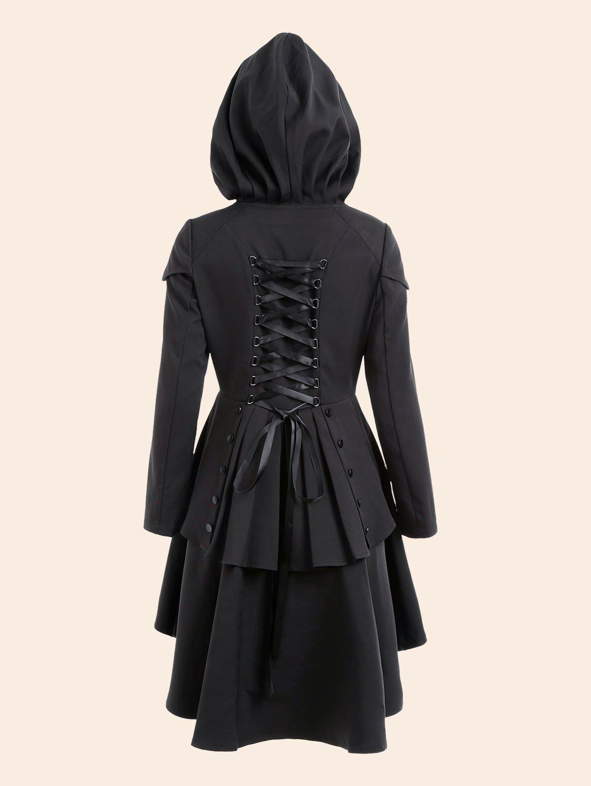 Lace Up High Low Plus Size Hooded CoatWOMEN<br><br>Size: 2XL; Color: BLACK; Clothes Type: Others; Material: Polyester; Type: High Waist; Shirt Length: Regular; Sleeve Length: Full; Collar: Hooded; Closure Type: Single Breasted; Pattern Type: Solid; Embellishment: Criss-Cross; Style: Gothic; Season: Fall,Spring; With Belt: No; Weight: 0.7500kg; Package Contents: 1 x Coat;