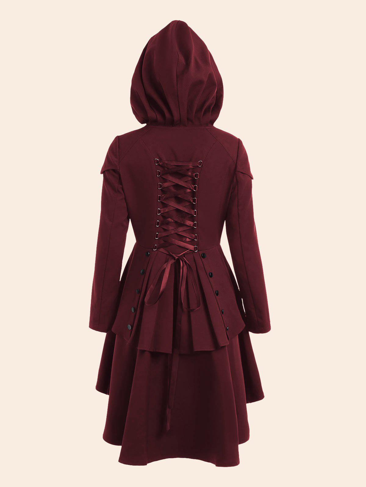 Lace Up High Low Plus Size Hooded CoatWOMEN<br><br>Size: 2XL; Color: WINE RED; Clothes Type: Others; Material: Polyester; Type: High Waist; Shirt Length: Regular; Sleeve Length: Full; Collar: Hooded; Closure Type: Single Breasted; Pattern Type: Solid; Embellishment: Criss-Cross; Style: Gothic; Season: Fall,Spring; With Belt: No; Weight: 0.7500kg; Package Contents: 1 x Coat;