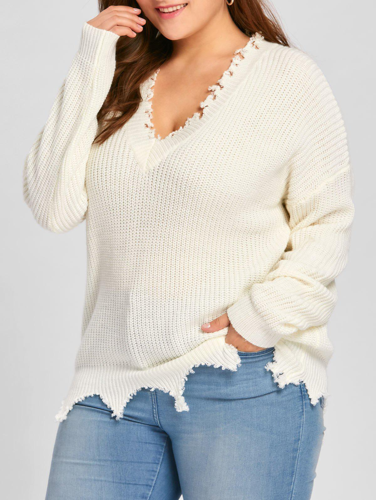 Plus Size V Neck Ribbed Raw Hem SweaterWOMEN<br><br>Size: 2XL; Color: OFF-WHITE; Type: Pullovers; Material: Acrylic; Sleeve Length: Full; Collar: V-Neck; Style: Casual; Season: Fall,Spring,Winter; Pattern Type: Solid; Weight: 0.7000kg; Package Contents: 1 x Sweater;