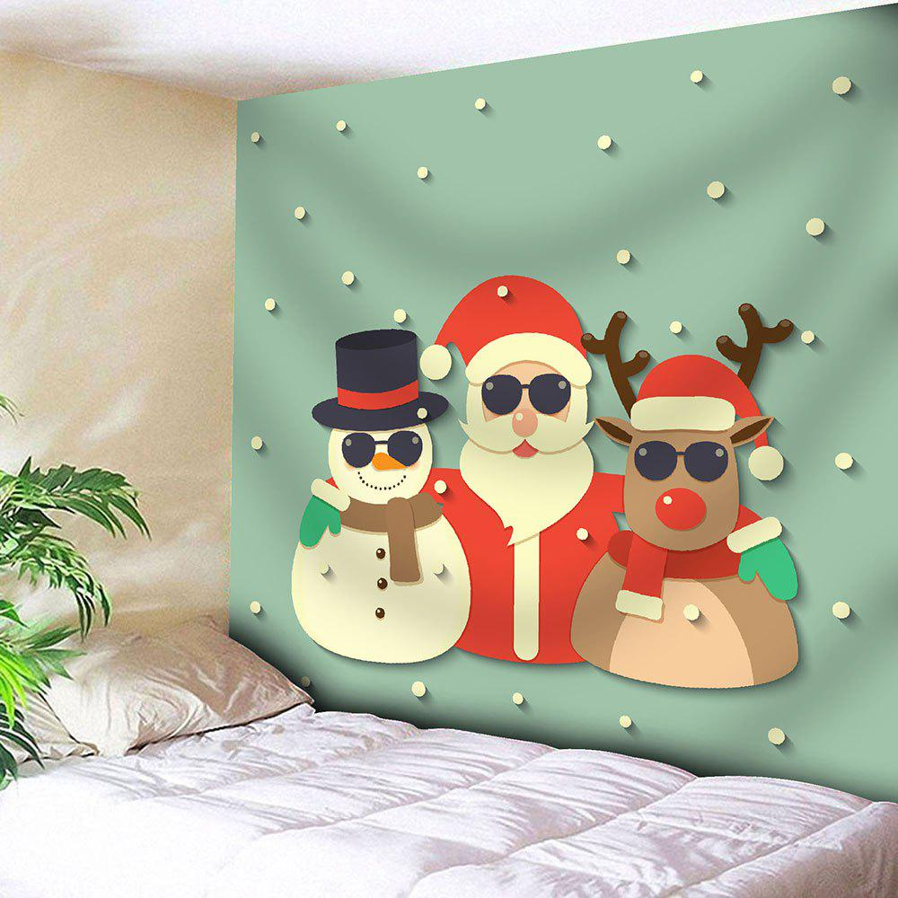 Snowman Santa Claus Deer Christmas Wall TapestryHOME<br><br>Size: W71 INCH * L71 INCH; Color: LIGHT GREEN; Style: Festival; Theme: Christmas; Material: Cotton,Polyester; Feature: Removable,Washable; Shape/Pattern: Animal,Santa Claus,Snowman; Weight: 0.3100kg; Package Contents: 1 x Tapestry;
