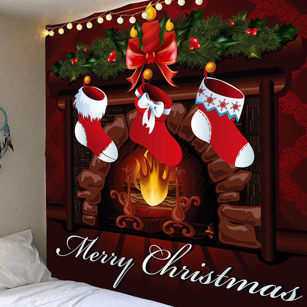 Christmas Stockings Pattern Waterproof Wall Art TapestryHOME<br><br>Size: W91 INCH * L71 INCH; Color: COLORFUL; Style: Festival; Theme: Christmas; Material: Velvet; Feature: Removable,Washable,Waterproof; Shape/Pattern: Print; Weight: 0.4200kg; Package Contents: 1 x Tapestry;