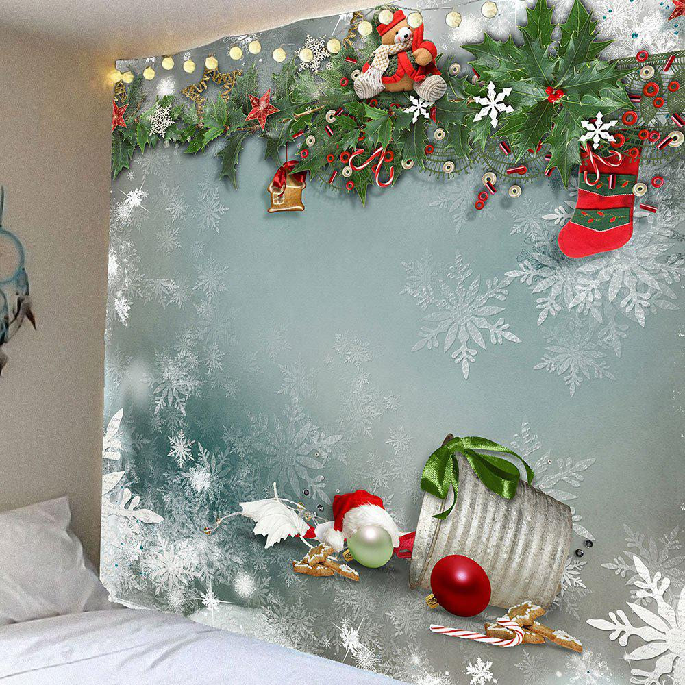 Christmas Graphic Pattern Waterproof Wall Art TapestryHOME<br><br>Size: W91 INCH * L71 INCH; Color: COLORFUL; Style: Festival; Theme: Christmas; Material: Velvet; Feature: Removable,Washable,Waterproof; Shape/Pattern: Snow; Weight: 0.4200kg; Package Contents: 1 x Tapestry;