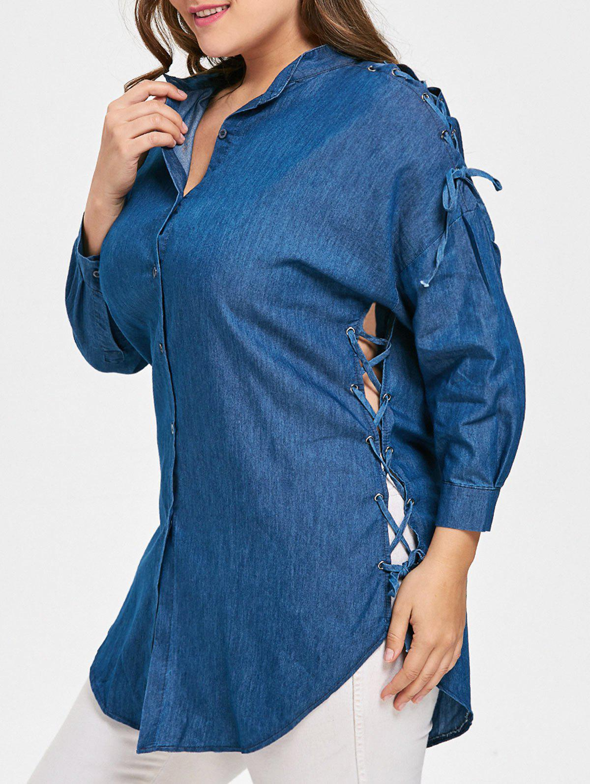 Drop Shoulder Lace Up Plus Size BlouseWOMEN<br><br>Size: 3XL; Color: DENIM BLUE; Material: Cotton,Polyester; Shirt Length: Long; Sleeve Length: Three Quarter; Collar: Stand-Up Collar; Style: Fashion; Season: Fall; Embellishment: Criss-Cross; Pattern Type: Solid; Weight: 0.2750kg; Package Contents: 1 x Blouse;