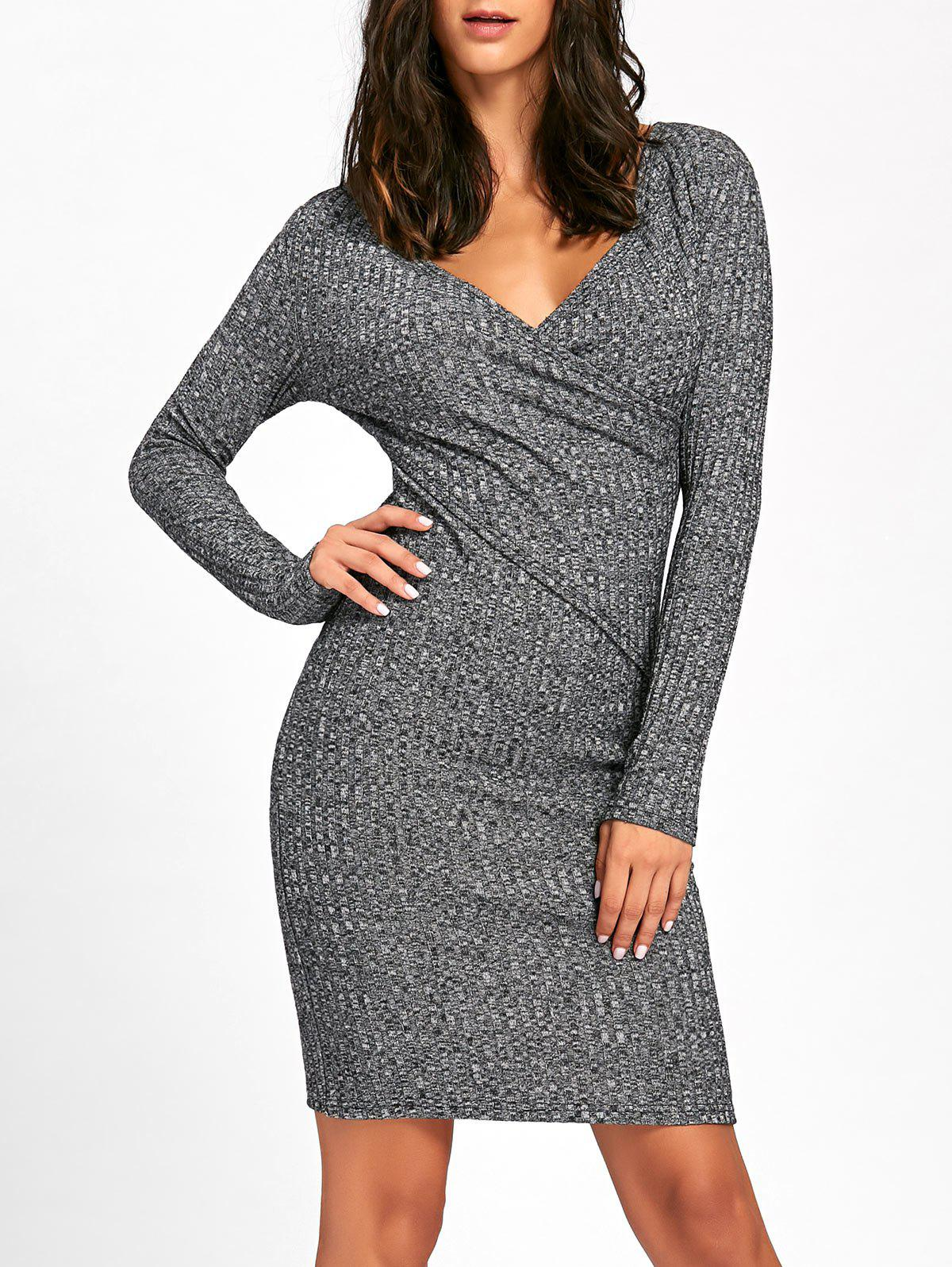 Fancy Surplice Ribbed Long Sleeve Knit Dress