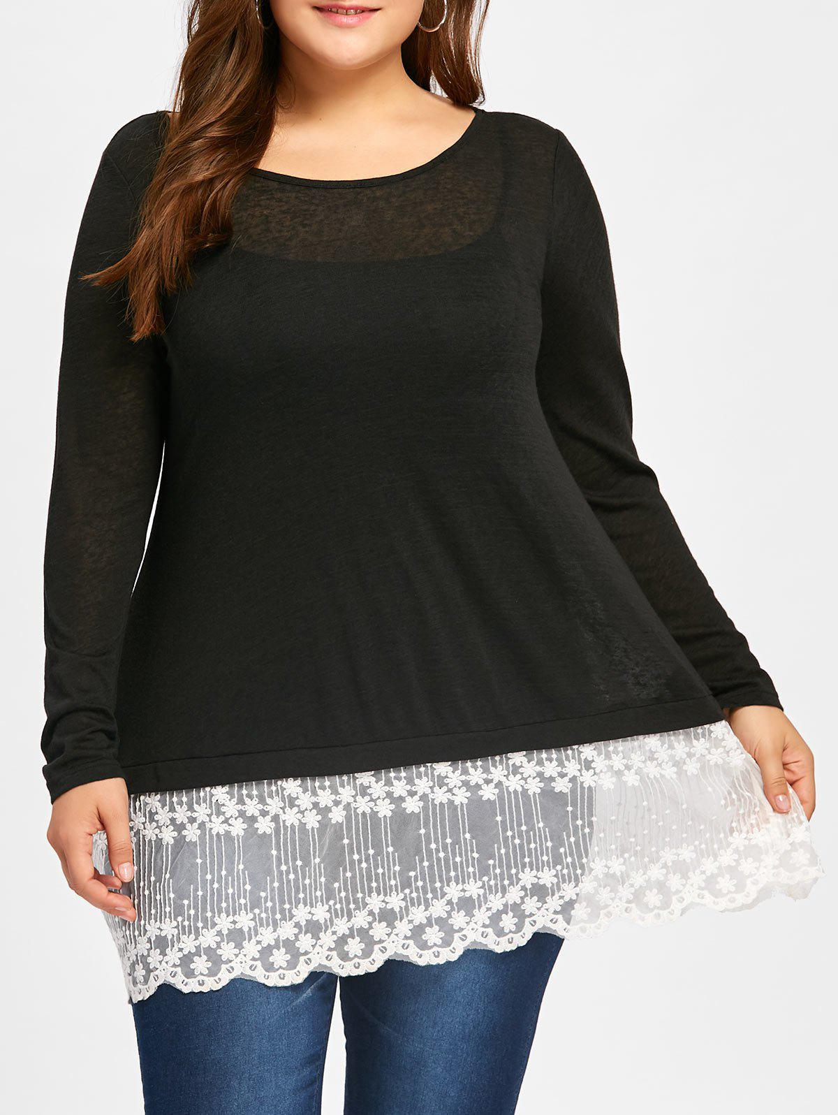 Plus Size Lace Panel Scolloped Tee with Cami TopWOMEN<br><br>Size: 5XL; Color: BLACK; Material: Cotton,Lace,Polyester; Shirt Length: Long; Sleeve Length: Full; Collar: Scoop Neck; Style: Fashion; Season: Fall,Spring; Embellishment: Lace,Panel; Pattern Type: Floral; Weight: 0.3500kg; Package Contents: 1 x T-shirt 1 x Cami Top;