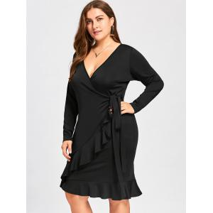 Plus Size Long Sleeve Surplice Dress with Flounce -