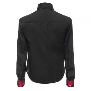 Fashion Shirt Collar Slimming Checked Sutures Design Long Sleeve Polyester Shirt For Men -