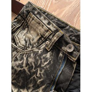 Cracking Dye Straight Retro Jeans - BROWN 36