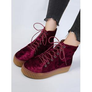 Lace Up Faux Suede Ankle Boots - WINE RED 39