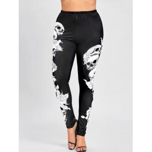 Halloween Plus Size Skulls Monochrome Leggings - BLACK XL