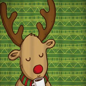 Christmas Deer Geometric Printed Bath Curtain - GREEN W59 INCH * L71 INCH