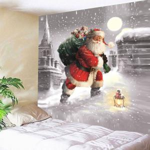 Santa Claus Walking In the Snow Patterned Tapestry - COLORFUL W91 INCH * L71 INCH