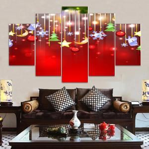 Wall Art Christmas Print Split Canvas Paintings - RED 1PC:10*24,2PCS:10*16,2PCS:10*20 INCH( NO FRAME )