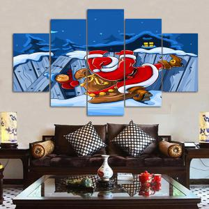 Santa Claus Print Christmas Canvas Wall Art Paintings - BLUE 1PC:10*24,2PCS:10*16,2PCS:10*20 INCH( NO FRAME )