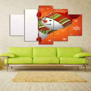 Christmas Snowman Print Wall Art Split Canvas Paintings - ORANGE+WHITE 1PC:10*24,2PCS:10*16,2PCS:10*20 INCH( NO FRAME )