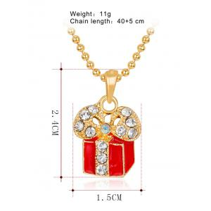 Christmas Theme Charms Gift Box  Pendant Necklace -