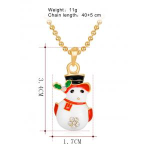 Christmas Snowman Enamel Pendant Necklace - WHITE