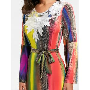 Maxi Bell Sleeve Lace Insert Printed Dress - COLORFUL S