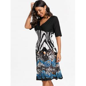 V Neck Leopard Print Surplice Dress - Noir XL