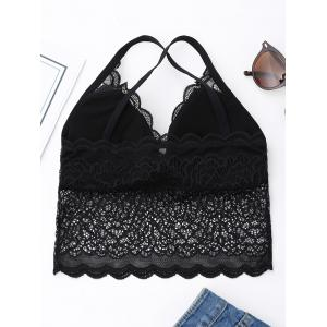 Cross Back Lace Bralette Top - BLACK ONE SIZE