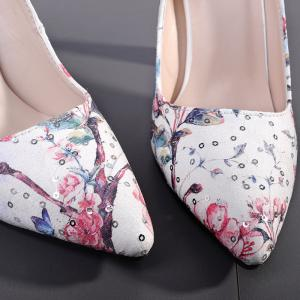 High Heel Floral Sequined Pumps -