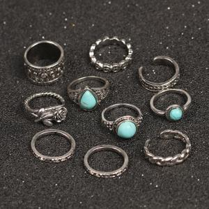 10 Pieces Turquoise Embellished Rose Vintage Rings -