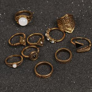 10 Pieces Faux Gem Embellished Vintage Rings - Or